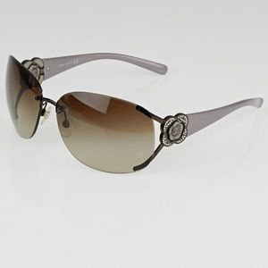 CHANEL Crystal Camellia CC Sunglasses Purple